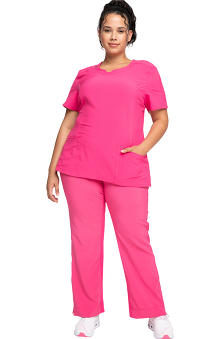 Infinity by Cherokee with Antimicrobial Certainty Women's Spilt Neck Scrub Top &Amp; Yoke Waist Scrub Pant Set