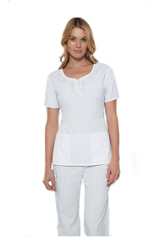 Clearance Cherokee Women's Henley Neckline Button Solid Scrub Top