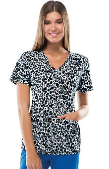 Flexibles by Cherokee Women's V-Neck Leopard Print Scrub Top