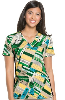 Flexibles by Cherokee Women's V-Neck Abstract Print Scrub Top