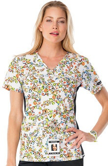 Clearance Flexibles by Cherokee Women's V-Neck Floral Print Scrub Top