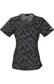 Flexibles By Cherokee Women's V-Neck Chevron Print Scrub Top
