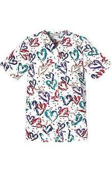 Cherokee Women's Poplin Heart Print Scrub Top