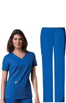 Core Stretch by Cherokee Workwear Women's V-Neck Scrub Top &Amp; Drawstring Scrub Pant Set