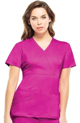 Luxe by Cherokee Women's Mock Wrap Solid Scrub Top
