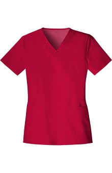 Luxe by Cherokee Women's Two Pockets V-Neck Solid Scrub Top