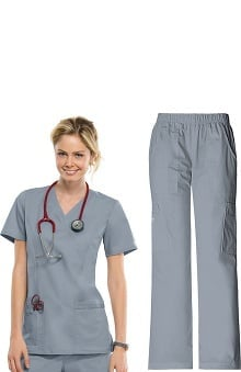 Core Stretch by Cherokee Workwear Women's Mock Wrap Scrub Top &Amp; Elastic Waist Scrub Pant Set