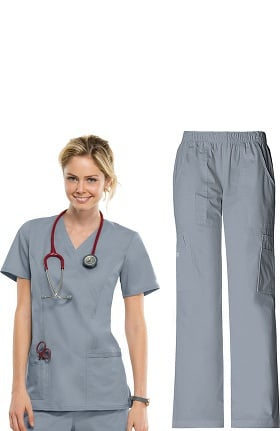 Core Stretch by Cherokee Workwear Women's Mock Wrap Scrub Top & Elastic Waist Scrub Pant Set