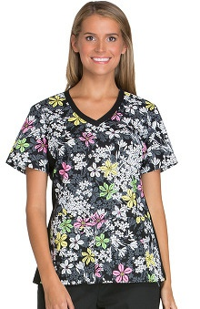 Cherokee Women's V-Neck Knit Side Panel Floral Print Scrub Top