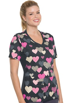 holiday: Flexibles by Cherokee Women's Soft Knit Side Panel Print Top