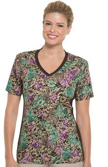 Clearance Flexibles by Cherokee Women's Soft Knit Side Panel Floral Print Scrub Top