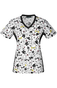 Flexibles by Cherokee Women's Knit Panel Floral Print Scrub Top