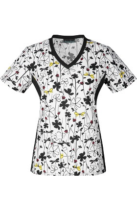 Clearance Flexibles by Cherokee Women's Knit Panel Floral Print Scrub Top