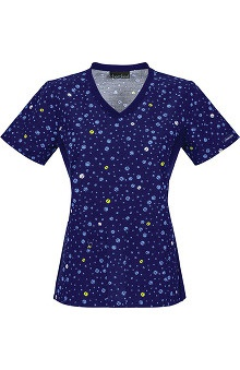Flexibles by Cherokee Women's Soft Knit Side Panel Dot Print Scrub Top