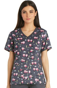 Flexibles by Cherokee Women's Soft Knit Side Panel Owl Print Scrub Top