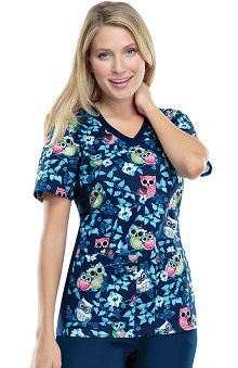 Flexibles by Cherokee Women's Knit Panel Owl Print Scrub Top