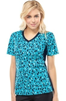 Flexibles by Cherokee Women's Soft Knit Side Animal Print Scrub Top