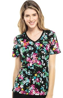 Flexibles By Cherokee Women's Soft Knit Side Floral Print Scrub Top