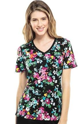 Flexibles by Cherokee Women's Soft Knit Side Floral Print Scrub Top