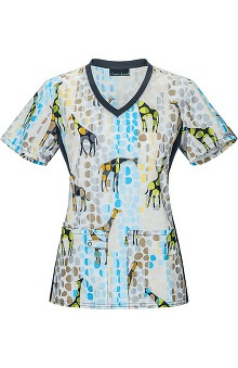 Flexibles by Cherokee Women's Soft Knit Side Panel Safari Print Scrub Top
