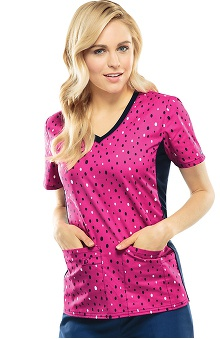 Flexibles by Cherokee Women's Soft Knit Side Dot Print Scrub Top