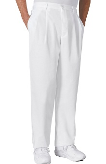 Cherokee Men's  White Pleated Trouser Scrub Pants