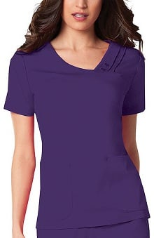 Scrubs: Luxe by Cherokee Women's Asymmetrical V-Neck Solid Top