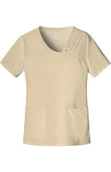 Clearance Luxe by Cherokee Women's Asymmetrical V-Neck Solid Scrub Top