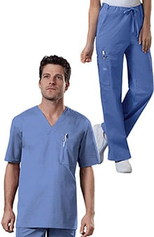 Core Stretch by Cherokee Workwear Unisex V-Neck Scrub Top & Cargo Scrub Pant Set