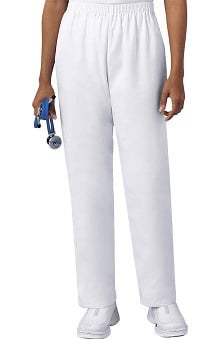petite: Cherokee Women's White Elastic Waist Twill Pull-On Scrub Pants