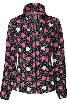 heartsoul Women's Hoodie Warm Up Heart Print Scrub Jacket