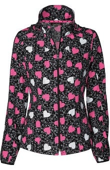 Clearance heartsoul Women's Hoodie Warm Up Heart Print Scrub Jacket