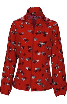 heartsoul Women's Zip Front Heart Print Warm Up Scrub Jacket