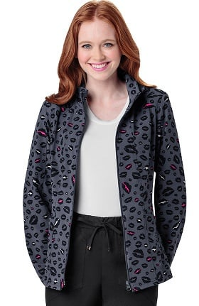 heartsoul Women's Zip Front Lips Print Warm-Up Scrub Jacket