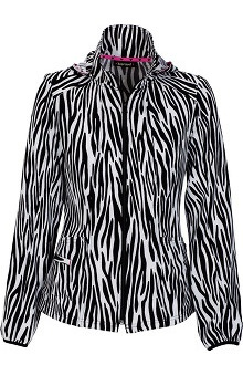 heartsoul Women's Zip Front Safari Print Warm Up Scrub Jacket