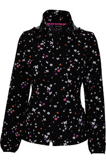 heartsoul Women's Zip Front Floral Print Warm Up Scrub Jacket