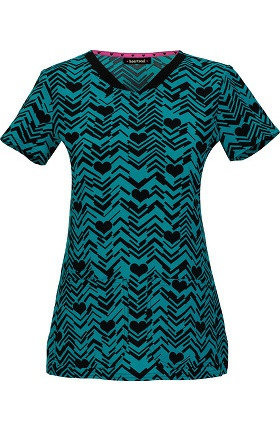 heartsoul Women's V-Neck After Your Teal Heart Print Scrub Top