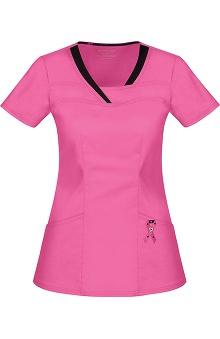 Pink with A Purpose by heartsoul Women's Serenity V-Neck Solid Scrub Top