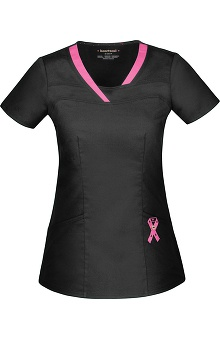 Clearance Pink with A Purpose by heartsoul Women's Serenity V-Neck Solid Scrub Top