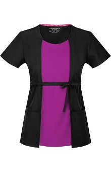 heartsoul Women's Love Bug Color Block Solid Scrub Top