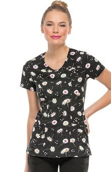 heartsoul Women's Mock Wrap Daisy Print Scrub Top