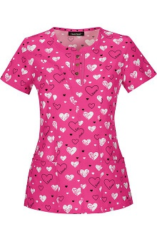 heartsoul Women's Round Neck Heart Print Scrub Top