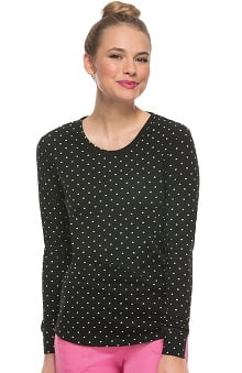 heartsoul Women's Round Neck Long Sleeve Polka Dot Print T-Shirt