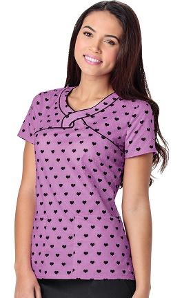 Clearance heartsoul Women's Mock Wrap Heart Print Scrub Top