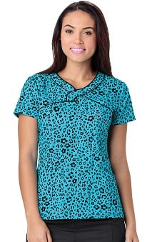 heartsoul Women's Mock Wrap Animal Print Scrub Top
