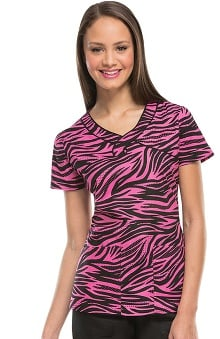 heartsoul Women's Keyhole Mock Wrap Animal Print Scrub Top