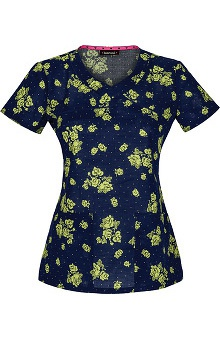 Clearance heartsoul Women's Mock Wrap Posy Print Scrub Top