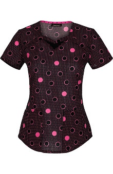 heartsoul Women's Sweetheart Neck Dots Print Scrub Top