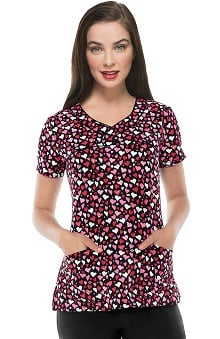 heartsoul Women's V-Neck Kiss Print Scrub Top