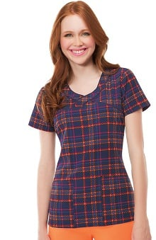 heartsoul Women's V-Neck Plaid Print Scrub Top